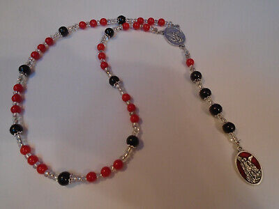 St Michael CHAPLET Angelic Crown Rosary Beads Black onyx gemstone RED Glass 8mm