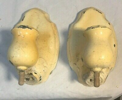 Pair Vintage Cast Brass Wall Sconce Light Fixtures