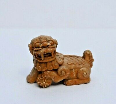Antique Chinese Master Hand Carved Buff Colored Stone Foo Dog, Lion Figurine