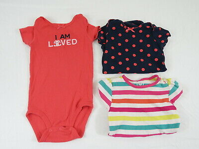 Lot Of 3 Baby Girl One Piece Bodysuit Size 6-12 Months Child Of Mine/Old Navy