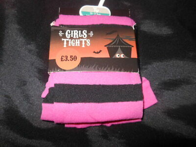 Tu Girls Pink and Black Stripe Fancy Dress Halloween Tights  6-24M  2  to 10 Yrs