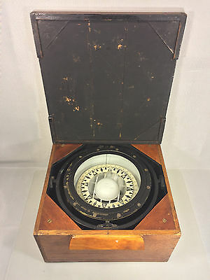 Antique Ritchie Compass in Mahogany Case with Lid