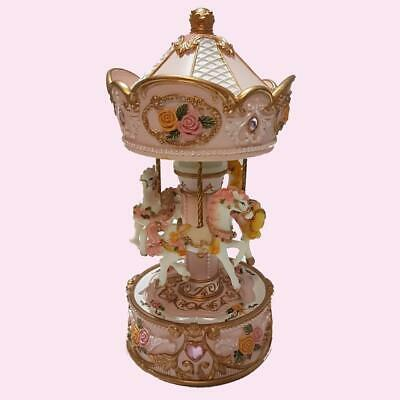 EXQUISITE Musical Moving  Carousel Three Horse Baby Shower Christening Birthday