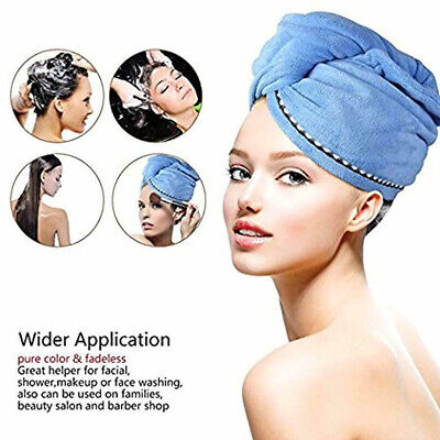 2Pcs Hair Dry Towel Microfiber Wrapped Bath Cap Quick Drying Shower Towel