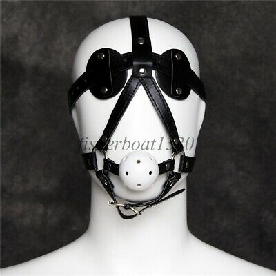 PU Leather Goggles Mask Eye Mask + Breathable White Open Mouth Ball Slave Harnes