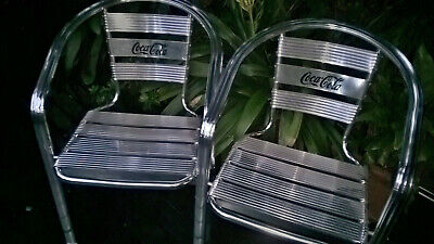 Pair of Coca Cola aluminium chairs - stackable - won't rust - reduced -