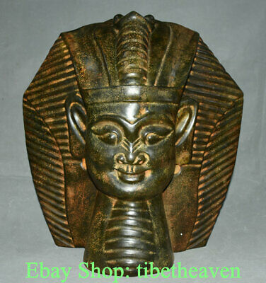 """17.2"""" China HongShan Culture Old Jade Carving Egypt Queen Pharaoh Head Sculpture"""