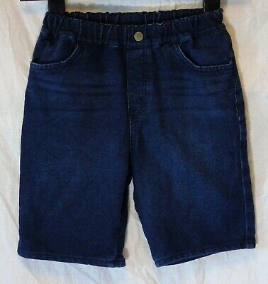 Boys Uniqlo Dark Indigo Blue Whiskered Denim Long Board Shorts Age 7-8 Years