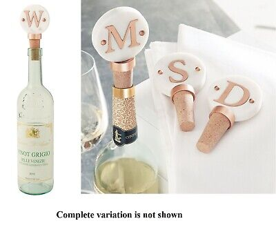 Mud Pie H7 Christmas Marble Copper Wine Bottle Topper 4865055 Choose Initial