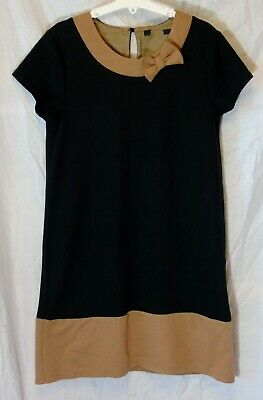 Girls George Black Brown Smart Party Panelled Short Sleeve Dress Age 13-14 Years