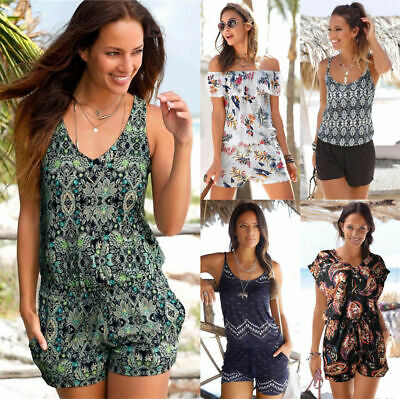 Women Boho Sleeveless Mini Jumpsuit Summer Playsuit Shorts Beach Pants Holiday