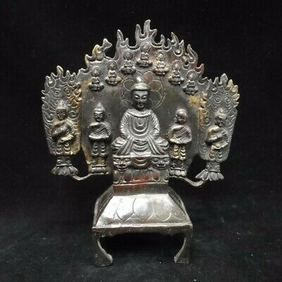 Rare Quality Old Chinese Bronze Five Buddha Statues Stand Sculptures