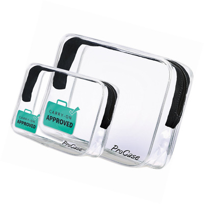 ProCase TSA Approved Liquid Bag Clear Toiletry for Airport Flights Travel, Trans
