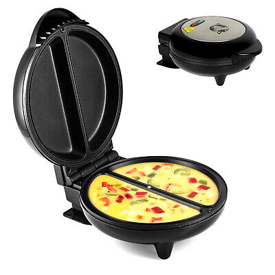750W Electric Kitchen Non Stick Omelette Maker Egg Cooker Black With Silver Top