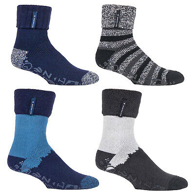 HEAT HOLDERS - Mens Thick Winter Thermal Bed Socks with Non Slip Rubber Grip