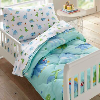 Dinosaurs Toddler Bedding 4 Pc Quilt Sheet Set Junior Baby Cot Bed *NEW*