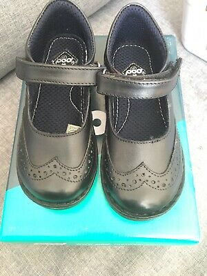 Girls Pod School Shoes Sz 11 Real Leather Black