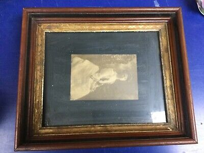"Stunning Antique Victorian Deep Walnut Shadowbox Wood Gilt Picture Frame 8""x10"""