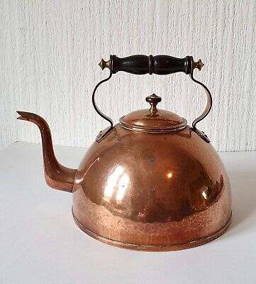Vintage 1940'S Solid Copper Kettle With Wooden Handle