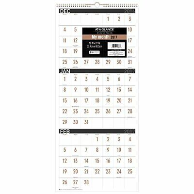 AT-A-GLANCE Wall Calendar 2017, 3 Month Reference, 15 Months, 12 x 27, Wirebo...