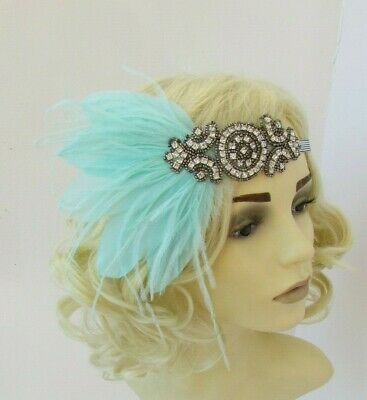 Mint Green Pewter Grey Silver Feather 1920s Headband Dress Flapper Gatsby 7573