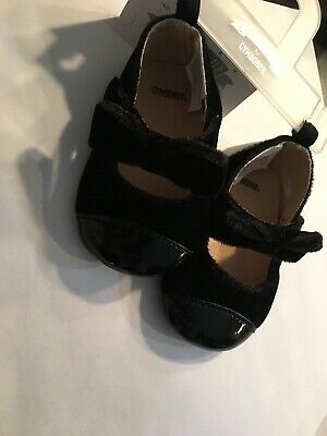 NWT Gymboree Baby Girls Black Velvet Bow Crib Party Shoes 1 2 3 Royal Red Line