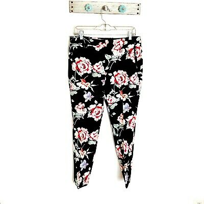 Adrianna Papell Womens 10 Black Floral Cropped Pants Pockets Straight Leg