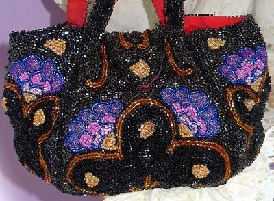 Beautiful Antique 1920 Double Handled BEADED Purse SPECTACULAR COLORS!!!!!