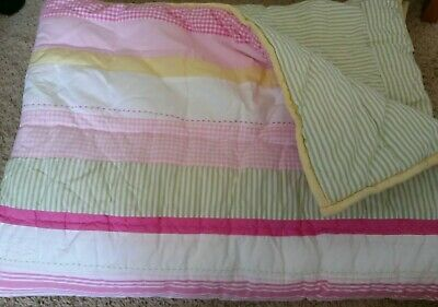 Pottery Barn Kids Pink Yellow Green Gingham Striped Crib Toddler Quilt