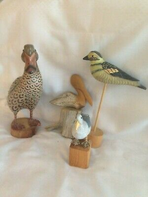 Wooden Shore Birds/Group of four