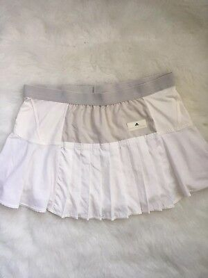 Adidas by Stella McCartney Off White Pleated Lined Tennis Skirt Size Large