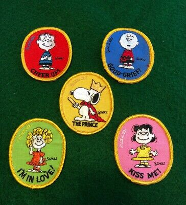 Vintage peanuts gang 5pc patches 1970's charlie snoopy lucy linus frieda schultz
