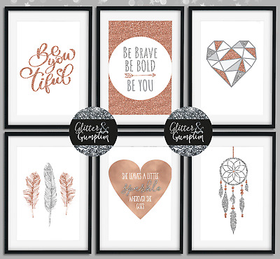 Girls bedroom Inspirational Home Decor Rose Gold Wall Art feather Prints GG18