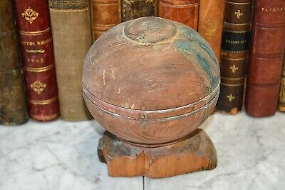 Antique Round Turned Wood Newel Post Finial Architectural Salvage