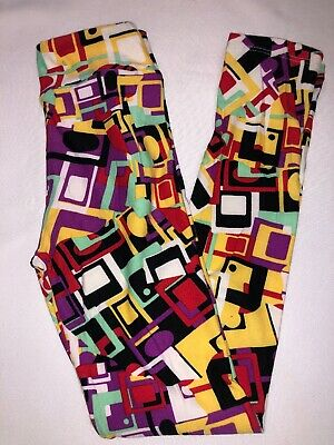 (BoxFF) LuLaRoe Kids Leggings L/XL New Black Yellow White Purple Green Shapes
