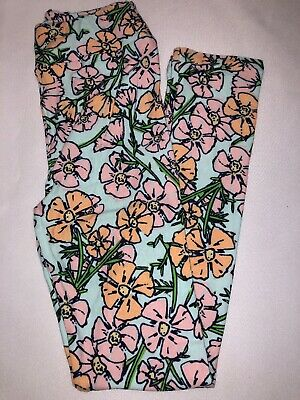 (BoxGG) LuLaRoe Kids Leggings L/XL New Light Blue Pink Orange Green Flowers