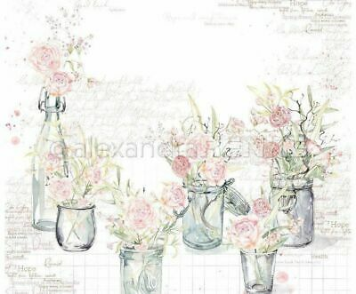 One-sided Scrapbook Paper (1pc) Roses In Glasses International 30 30 Nature P...