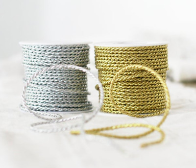 Metallic Twisted Cord Rope String Gold Silver Christmas Ribbon Decor Xmas1mm&3mm