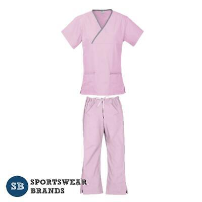 Ladies Contrast Scrub Set-Nurse Doctor Vet Medical Uniform Pant Shirt Pink Grey