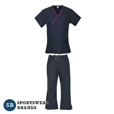 Ladies Contrast Scrub Set- Nurse Dr Vet Medical Uniform Pant Shirt Navy Fuchsia