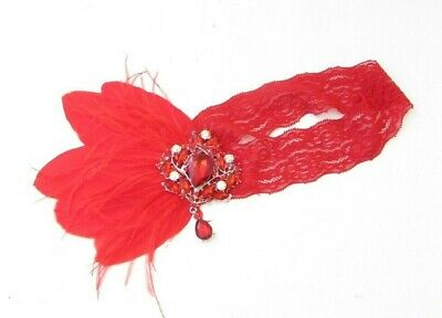 Red Lace Feather Headpiece 1920s Headband Flapper Great Gatsby Charleston 7585