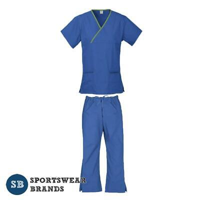 Ladies Contrast Scrub Set-Nurse Dr Vet Medical Uniform Pant Shirt New Royal Lime