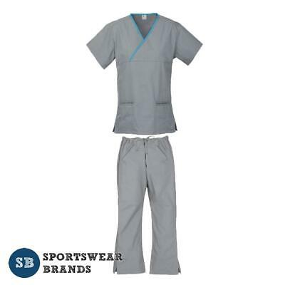 Ladies Contrast Scrub Set- Nurse Crossover Vet Medical Uniform Pant Shirt Health