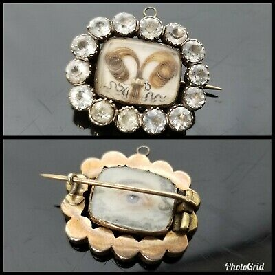 4 Antique 18th/19th Century Victorian Gold Lovers Eye Paste Brooches Pins