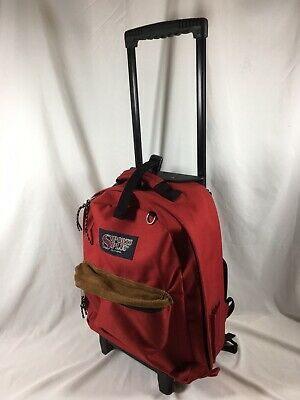 Olympia Sports Plus Wheeled Rolling Backpack Travel Bag Suitcase Red Used