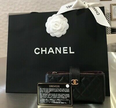 Authentic Chanel Black Cc Gold Hdw Quilted Caviar Small Clutch Wallet Bag Pouch