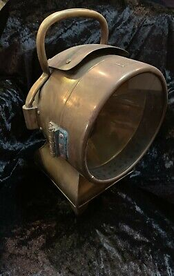 Real brass nautical hand-held lamp or spotlight, circa 1930s, antique, maritime