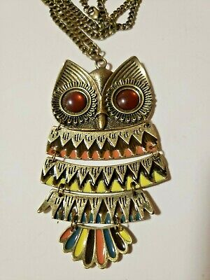 Owl Necklace Hinged Retro Brass Black Color Enamel Pendant Link Chain