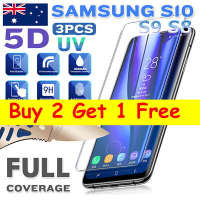 Full Curved 5D Tempered Glass Screen UV Protector For Samsung Galaxy S8 S9 S10