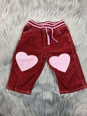 Baby Boden Girls 12-18 Months Red Pink Corduroy Heart Pants